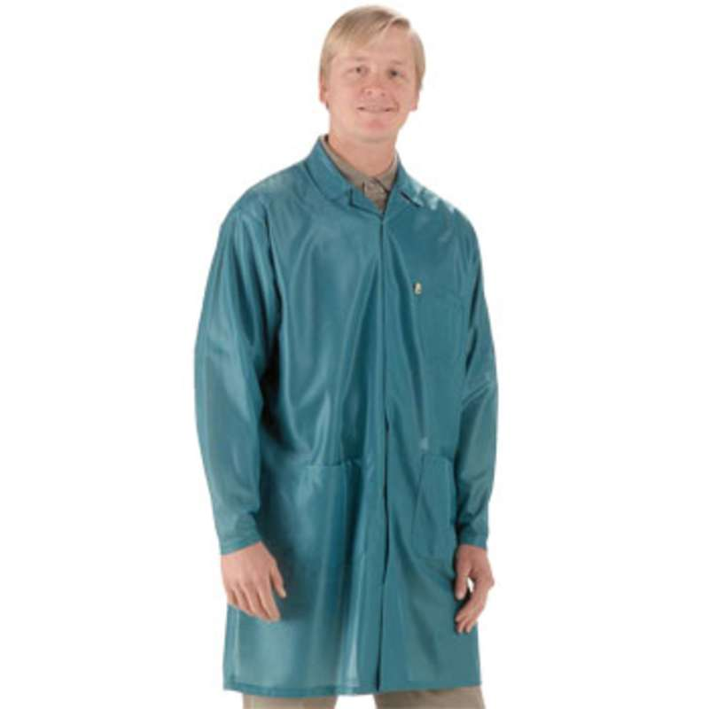 "ESD-Safe Traditional Style Lapel Coat in OFX-100 Material with Cuffs, Teal, Small, 37"" Long"