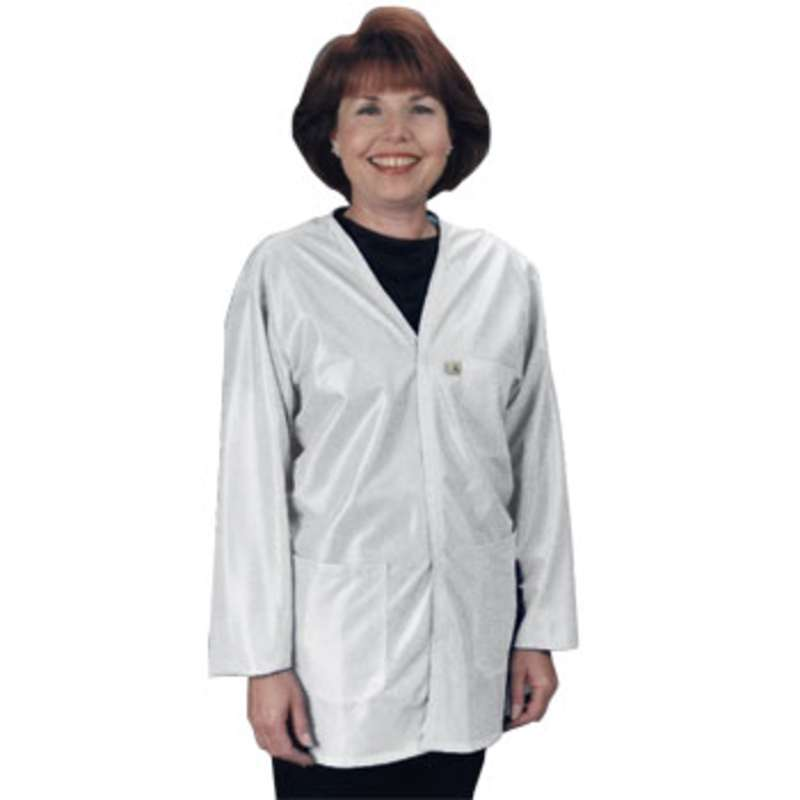 "ESD-Safe V-Neck Jacket in OFX-100 Material with Cuffs, White, 2X-Large, 36"" Long"