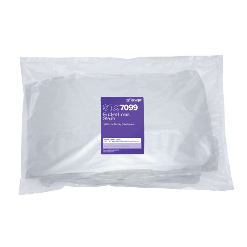 Sterile Bucket Liners for use with Texwipe Buckets, 100% Low Density Polyethylene, 2 per Bag
