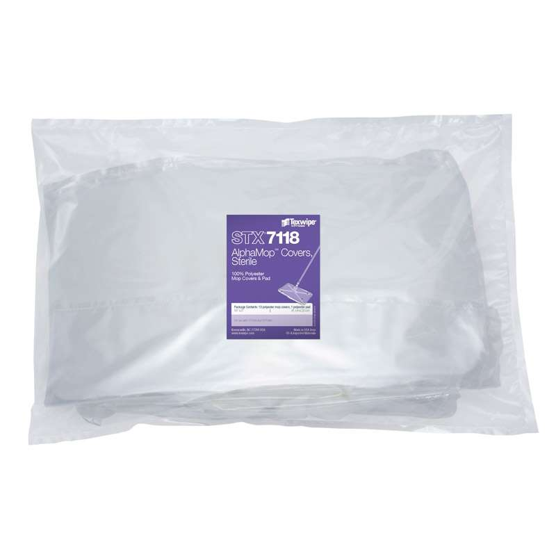 Sterile AlphaMop™ Cleanroom Polyester Mop Covers, 10 Mop Covers per Bag with 1 Pad per Case