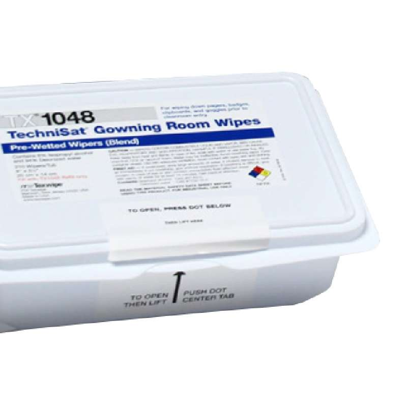 """TechniSat™ Cleanroom Gowning Room Wipes® Pre-Saturated with 6% IPA, 5 x 8"""", 210 per Package"""
