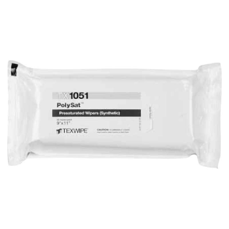 """Polysat? Cleanroom Polypropylene Wipes Pre-Saturated with 70% IPA , 9 x 11"""", 50 per Package"""