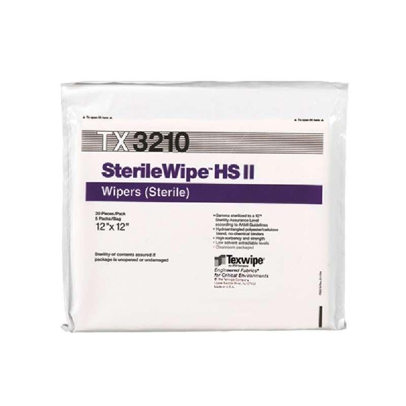 """SterileWipe® HS II Cleanroom Cellulose/Polyester-Blend Wipes, 12 x 12"""", 100 per Package"""