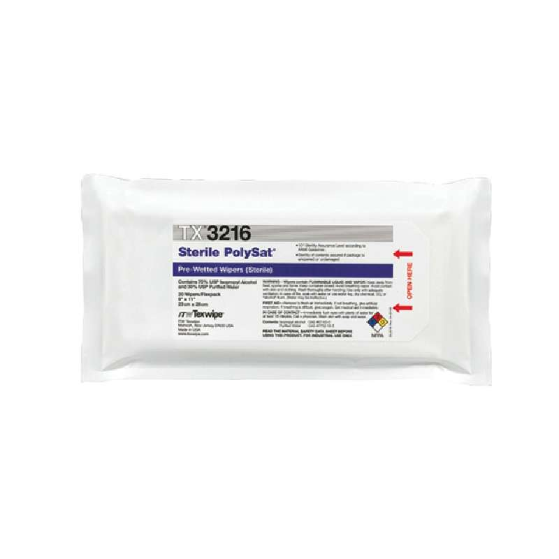"""Sterile PolySat® Cleanroom Polypropylene Wipes Presaturated with 70% IPA, 9 x 11"""", 20 per Package"""