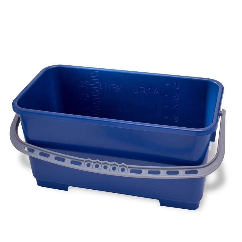 "Cleanroom Polypropylene Rectangular Mop Bucket, Blue, 6-Gallon Capacity, 18"" x 9.5"" x 9.5"""