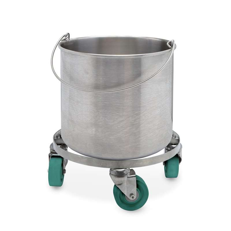 100% 304 Stainless Steel Seamless Round Bucket w/ Casters, 8-Gallon Capacity