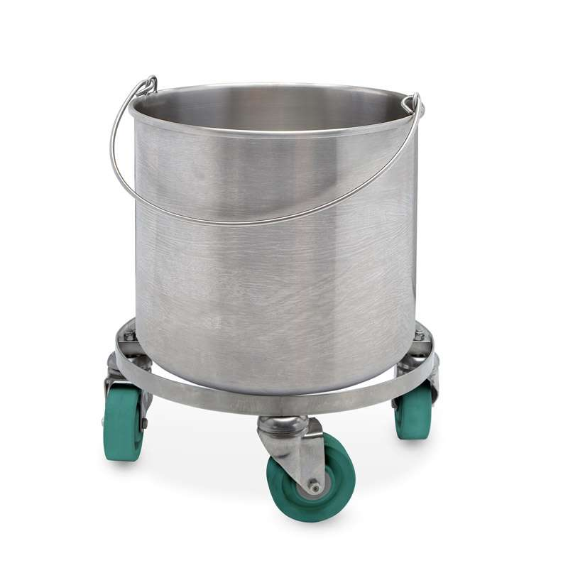 100% 304 Stainless Steel Seamless Round Bucket w/ Casters, 10-Gallon Capacity