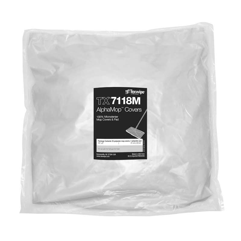 AlphaMop™ Microdenier Cleanroom Mop Covers, 25 Covers per Bag with 6 Pads per Case