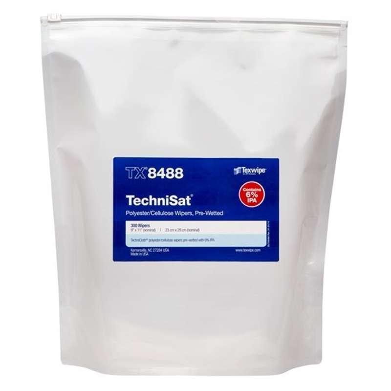 "TechniSat® Cleanroom 6% IPA Pre-Moistened TechniCloth® Nonwoven Wipes, 9 x 11"", 300 per Bag"