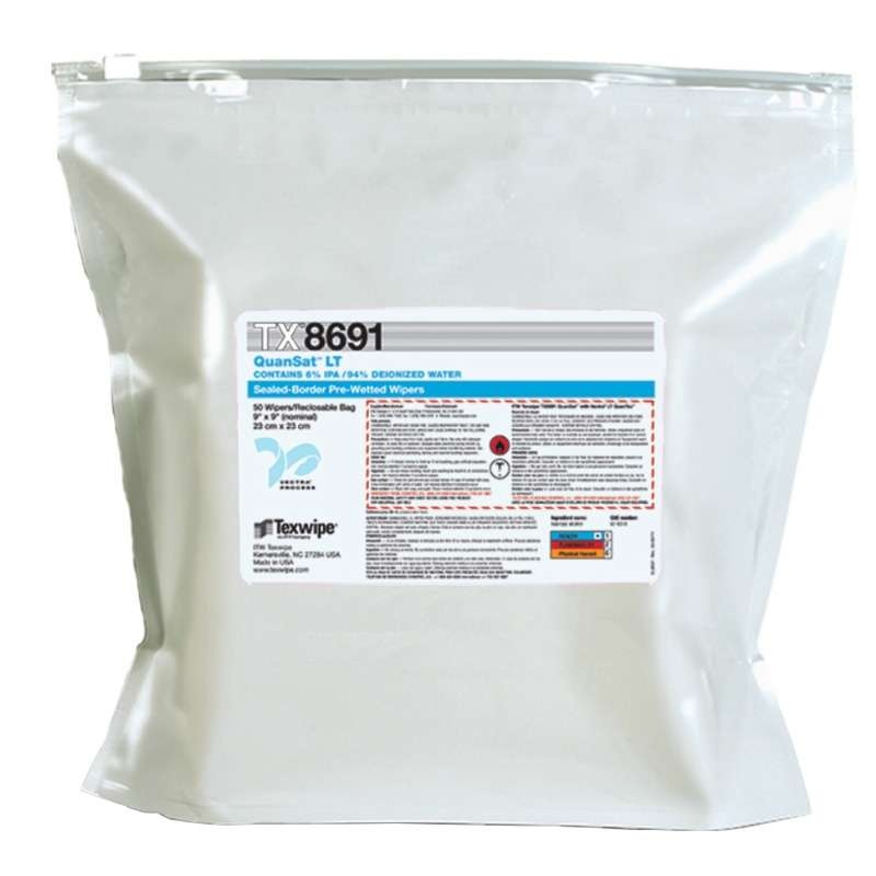 "QuanSat™ Cleanroom Polyester QuanTex™ Wipes Pre-Saturated with 6% IPA, 9 x 9"", 50 per Package"