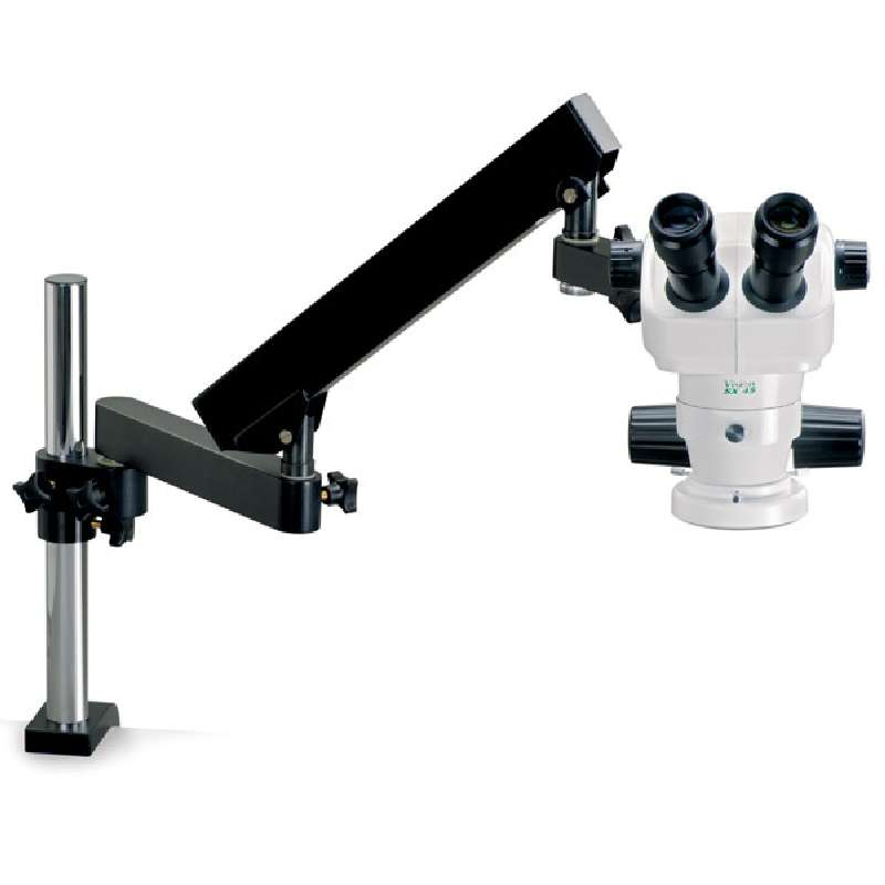 SX45 Series Trinocular Stereo-Zoom Microscope with LED Ring Light and Flex Arm Stand, 8X to 50X Magnification
