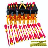 Insulated Master Electrician's Tool Set in Tool Box, 31 Piece