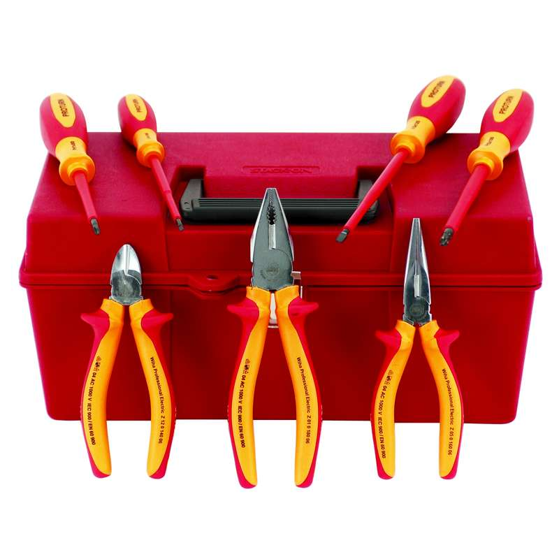 Insulated Pliers and Screwdriver Set in Tool Box, 7 Piece