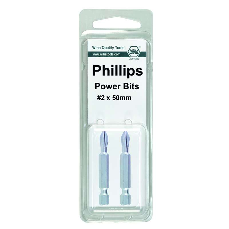 "Phillips Head Power Bit for 1/4"" Hex Drive, #2 x 2"" Long, 2 per Pack"