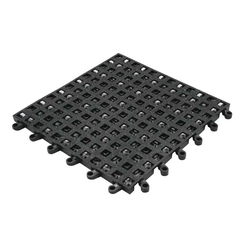 "Non-ESD-Safe ErgoDeck® Open Grid 18 x 18"" Black Tile with GritWorks®, 7/8"" Thick"