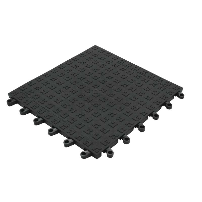 Non Esd Safe Ergodeck Solid Grid 18 X 18 Black Tile With Gritworks