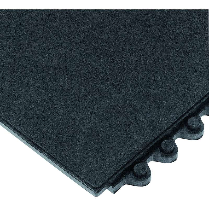 "24/Seven® Solid Interlocking 3 x 3' Cutting Fluid Resistant Black Tile, 5/8"" Thick"
