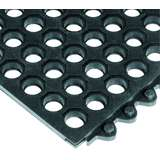 "24/Seven® 3 x 39"" Cutting Fluid Resistant Black Beveled Male Edging with Interlock Snaps Under Tile"