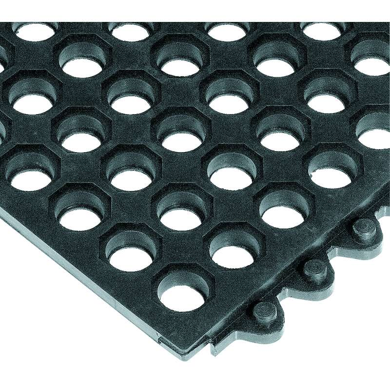 "Non-ESD-Safe 24/Seven® Open Grid Interlocking 3 x 3' Cutting Fluid Resistant Black Tile, 5/8"" Thick"