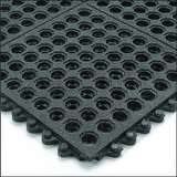 "Non-ESD-Safe 24/Seven® Open Grid Interlocking 3 x 3' Cutting Fluid Resistant Black Tile with GritWorks®, 5/8"" Thick"