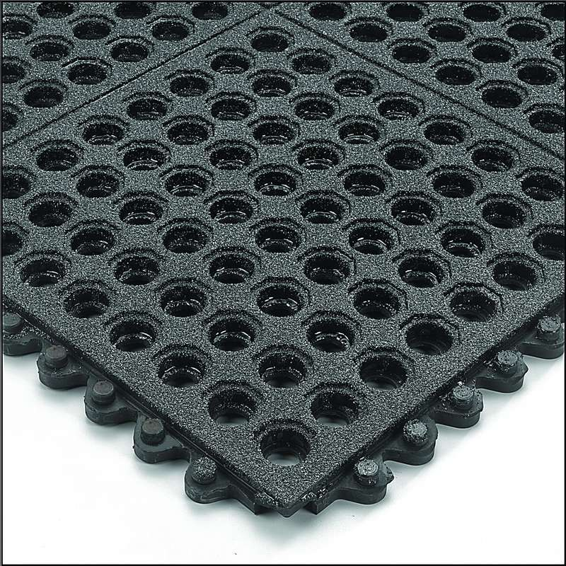 "Non-ESD-Safe 24/Seven® Open Grid Interlocking 3 x 3' Nitrile Petroleum Fluid Resistant Black Tile with GritWorks®, 5/8"" Thick"