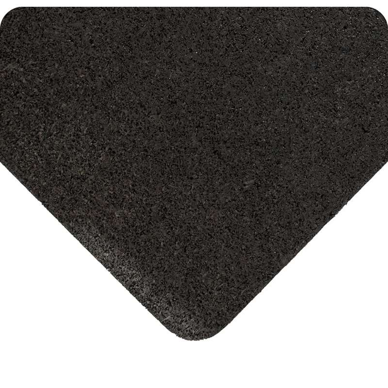 "Non-ESD-Safe Enviro Mat 3 x 105' Anti-Fatigue Cushioning and Impact Resistant Black Rubber Mat Runner, 3/8""Thick"