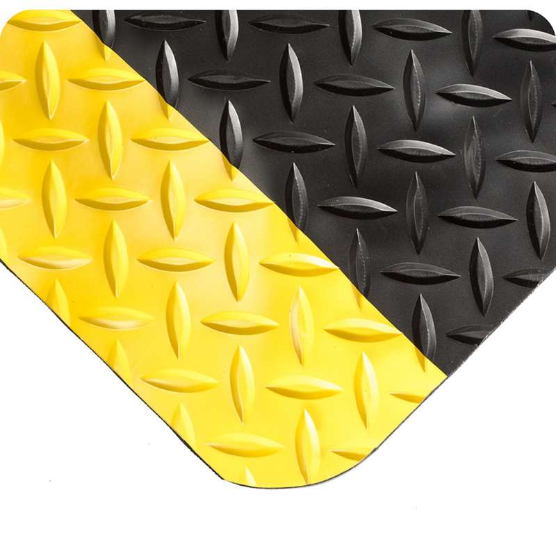 "Non-ESD-Safe UltraSoft 4 x 75' Diamond Plate Black Vinyl Matting with Yellow Borders and Nitricell® Sponge Base, 15/16"" Thick"