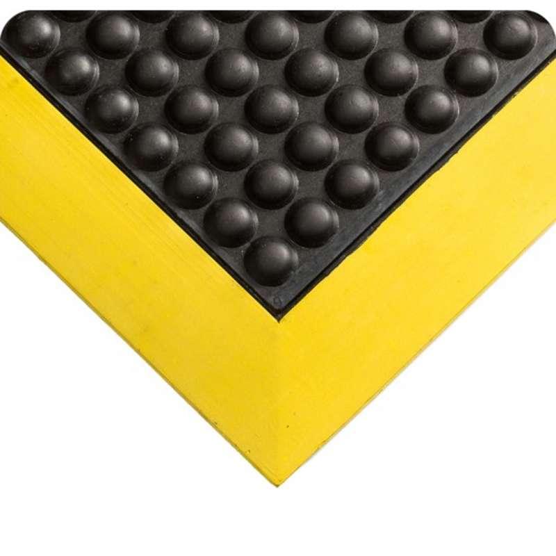 "Tuf Sponge 27 x 36"" Ergonomically Ribbed Surface Black Vinyl Sponge Matting with Yellow Borders, 3/8"" Thick"