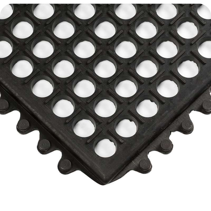 """Non-ESD-Safe Modular WorkSafe® Light 3 x 3' General Purpose Black Interlocking Tile with Natural Rubber, 1/2"""" Thick"""