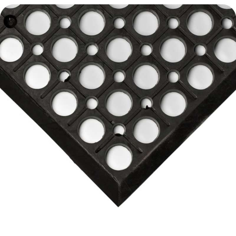 "Non-ESD-Safe WorkRite Open Grid 3 x 20' General Purpose Black Drainage Matting, 1/2"" Thick"