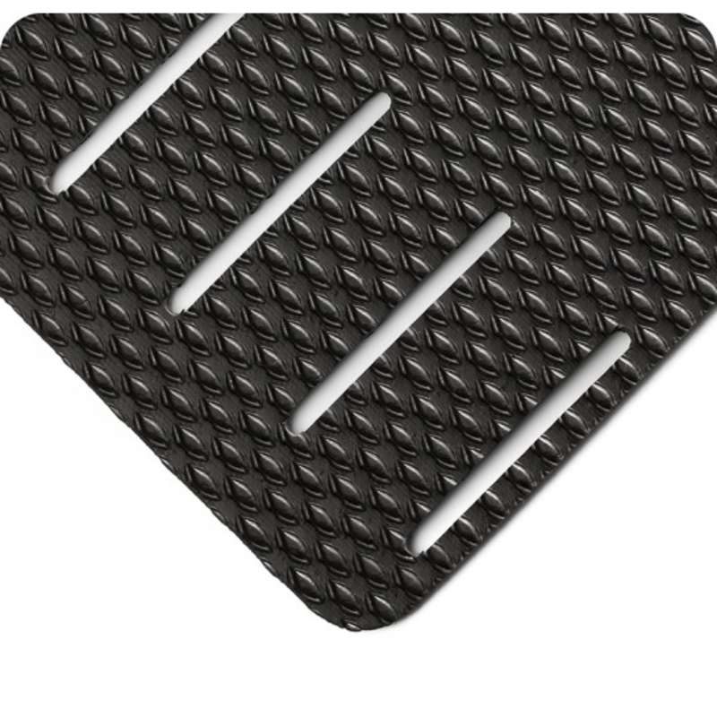 "Non-ESD-Safe Kushion Walk Super Tough 3 x 5' Abrasion Resistant Black Slotted Matting with Beveled Edges, 3/8"" Thick"