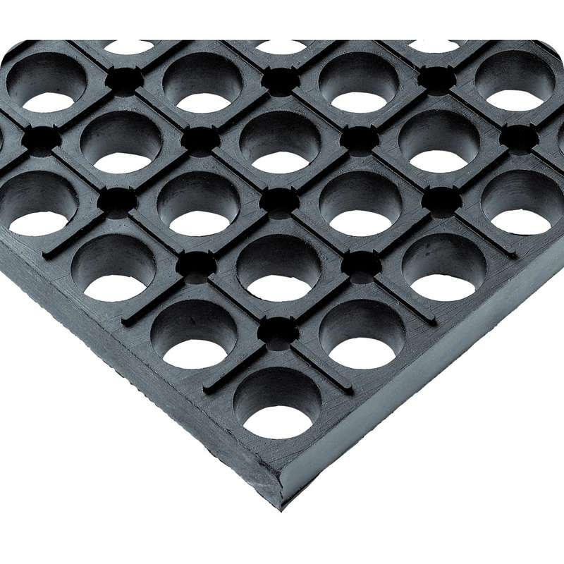 """Non-ESD-Safe WorkSafe® Open Grid 3 x 4' Grease Resistant Black Matting, 7/8"""" Thick"""