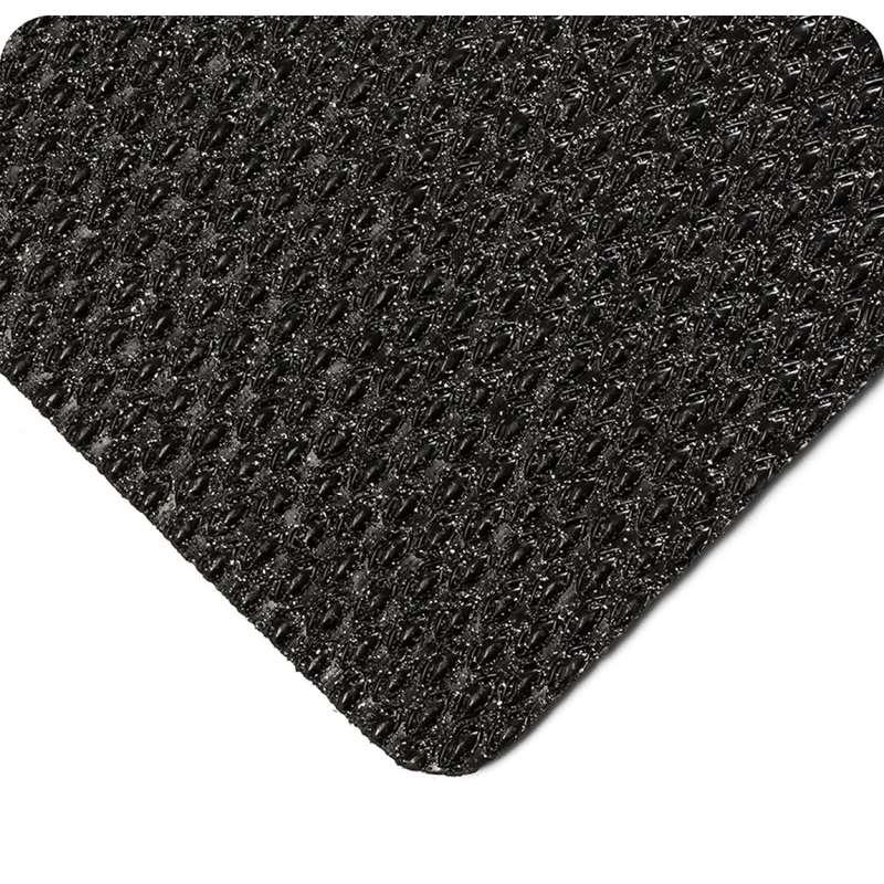 "Non-ESD-Safe Abrasive Coated Kushion Walk 2 x 60' Slip Resistant Black Unslotted Matting with Beveled Edges, 3/8"" Thick"