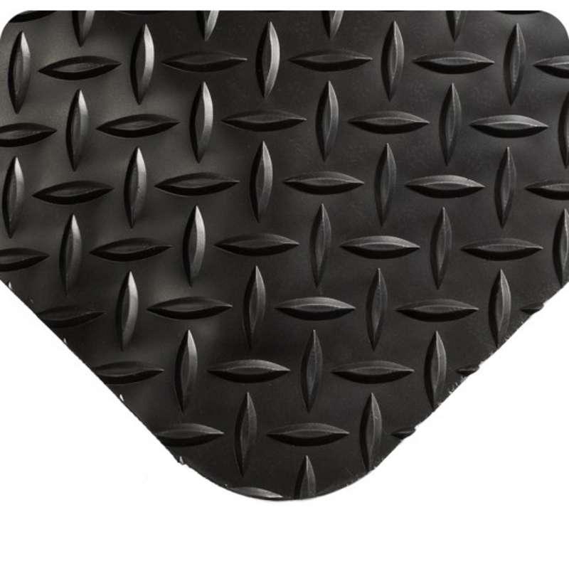 "Diamond Plate Select 4 x 75' Anti-Fatigue Black Vinyl Matting with Flex-Link™ Sponge Base, 15/16"" Thick"