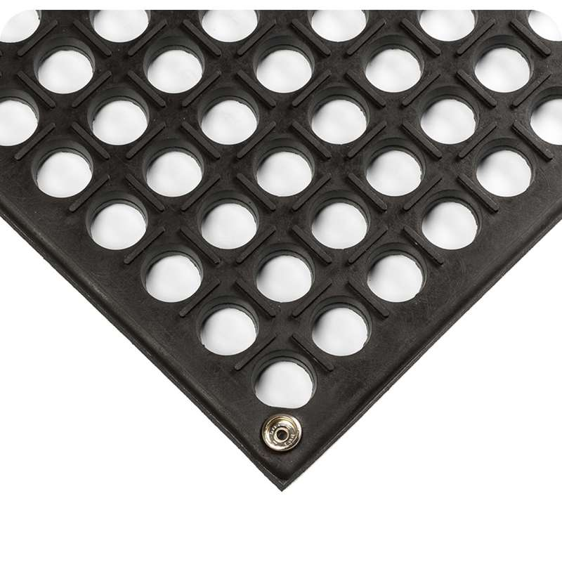 """Conductive Interlocking Open Grid 3 x 3' Grease Resistant Black Tile, 1/2"""" Thick"""