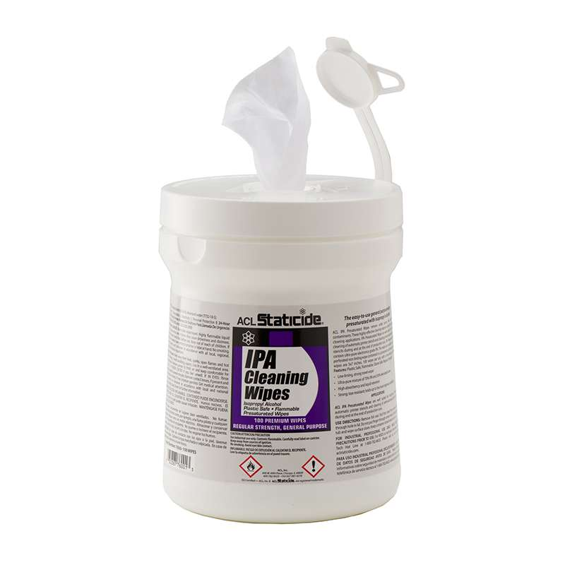 "Presaturated General Purpose IPA Cleaning Wipes, 5 x 8"", 100 per Canister"