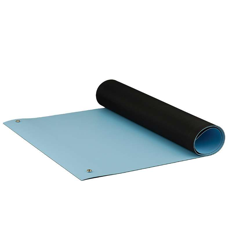 Dualmat® 2-Layer Dissipative/Conductive Rubber Worktop Mat with Two Snaps, Light Blue/Black, 30 x 60 x .080""