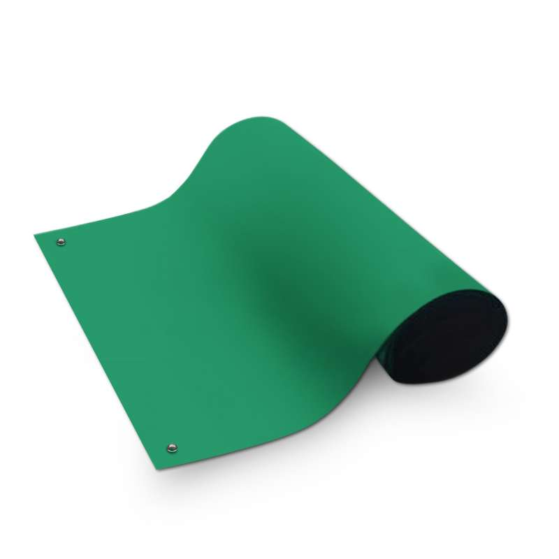 Dualmat® 2-Layer Dissipative/Conductive Rubber Worktop Mat with Two Snaps, Green/Black, 24 x 72 x .080""