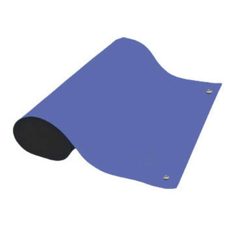 Dualmat® 2-Layer Dissipative/Conductive Rubber Worktop Mat with Two Snaps, Royal Blue/Black, 30 x 60 x .080""