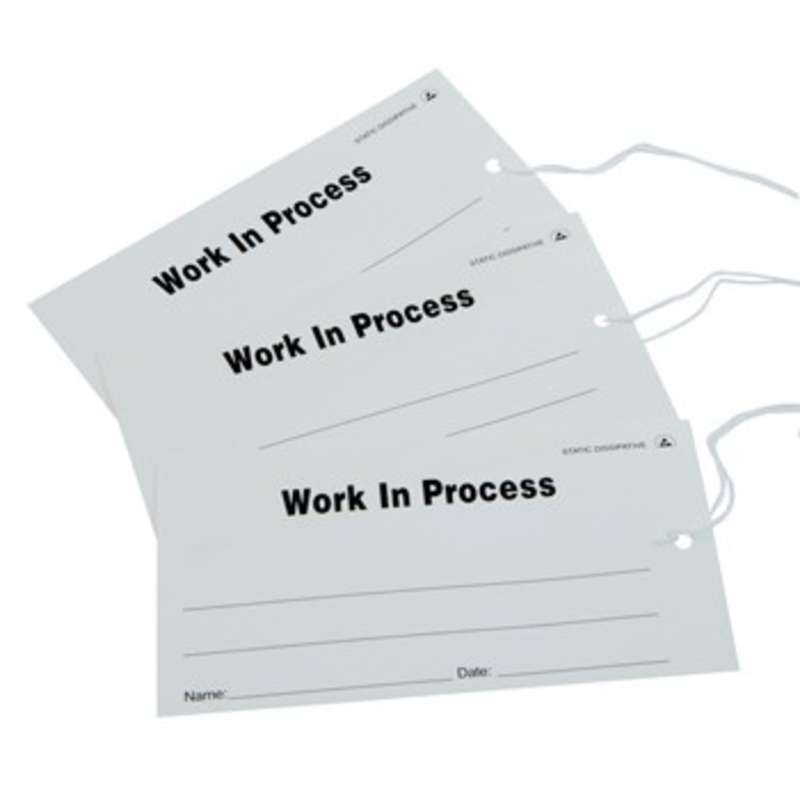 "ESD-Safe White ""Work In Process"" Paper Tags, 2-3/4 x 5"", 100 per Package"
