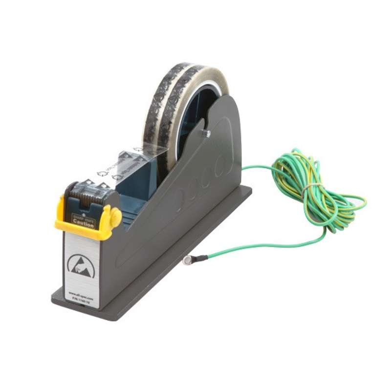 "ESD-Safe Tape Dispenser with One 1"" Wide Spool and Ground Cord for 3"" Core Tape"