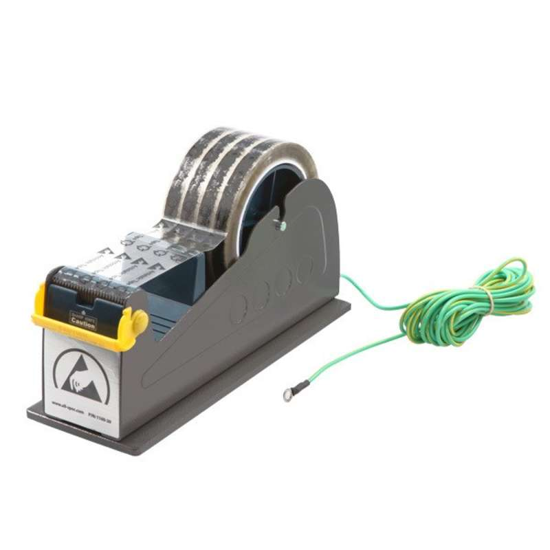 "ESD-Safe Tape Dispenser with Two 1"" Wide Spools and Ground Cord for 3"" Core Tape"