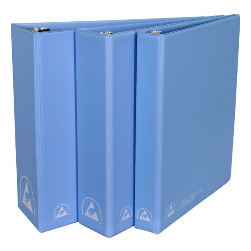 "ESD-Safe 3-Ring Binder with 1/2"" Ring Size, Blue"