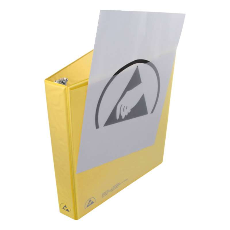 """ESD-Safe 3-Ring Binder with 1"""" Ring Size and Clear View Dissipative Outside Pocket, Yellow"""
