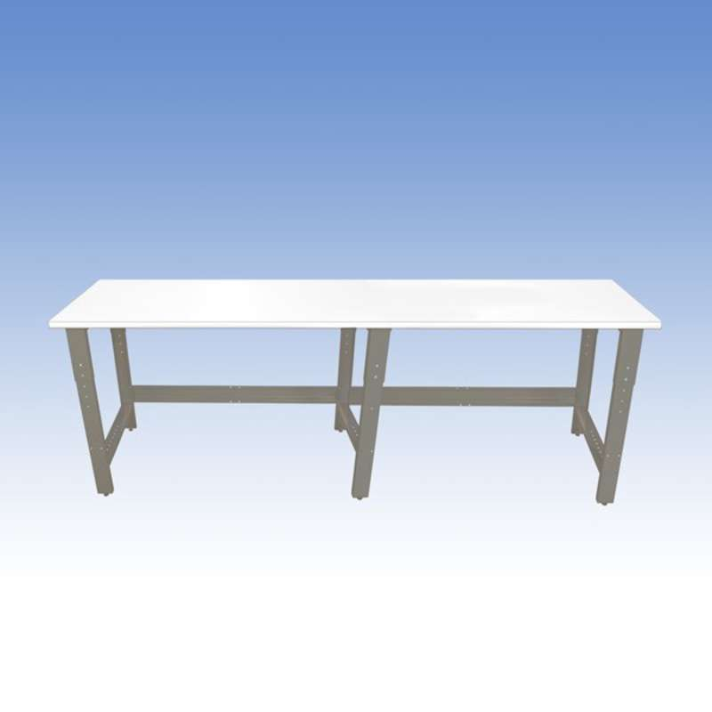 Adjustable Height Chemical Resistant Phenolic Resin Top Workbench with 1000 lb Weight Capacity, Square Edges and Glides, White, 36 x 60""