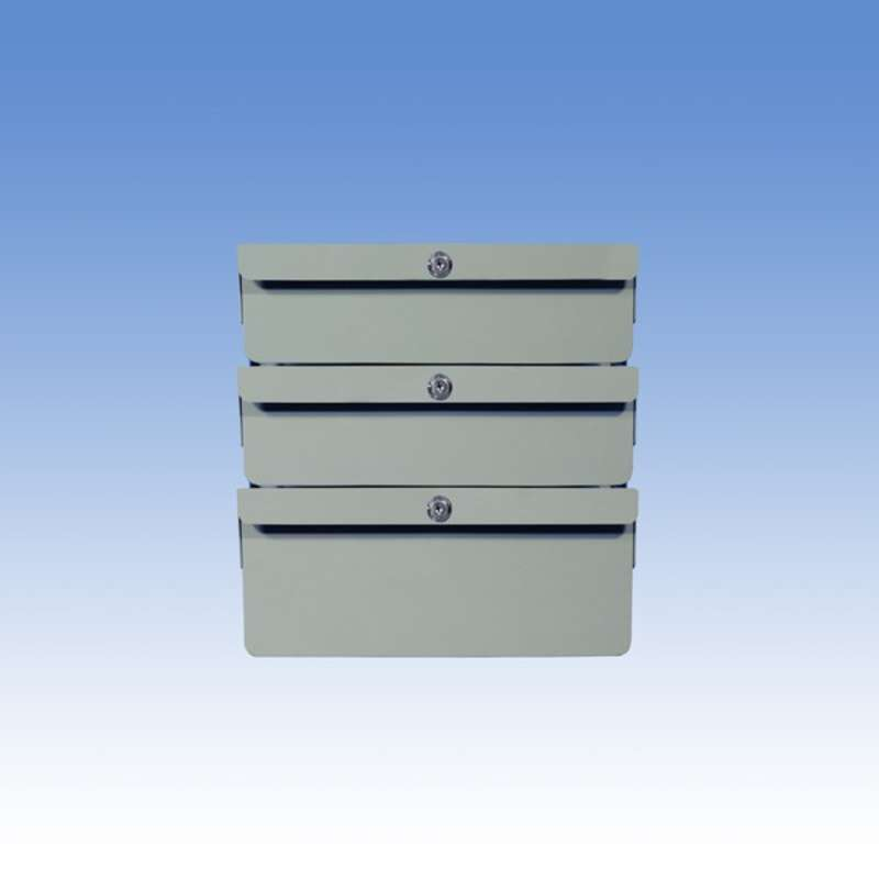 """Triple Stacked 2""""/2""""/4"""" Steel Drawers for Chemical Resistant Benches, Grey"""