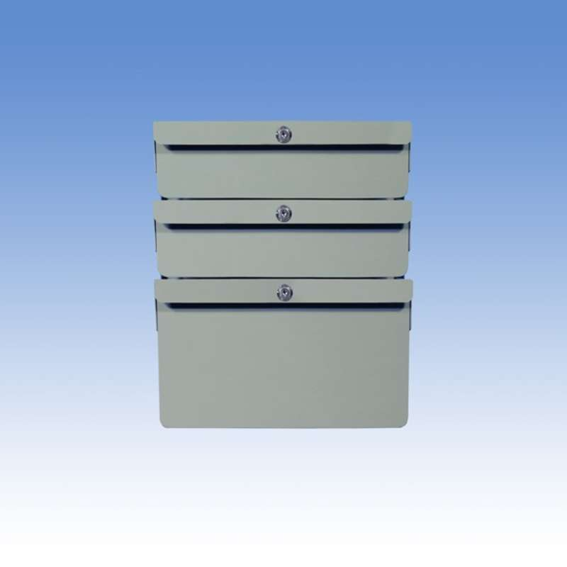 """Triple Stacked 2""""/2""""/6"""" Steel Drawers for Chemical Resistant Benches, Grey"""