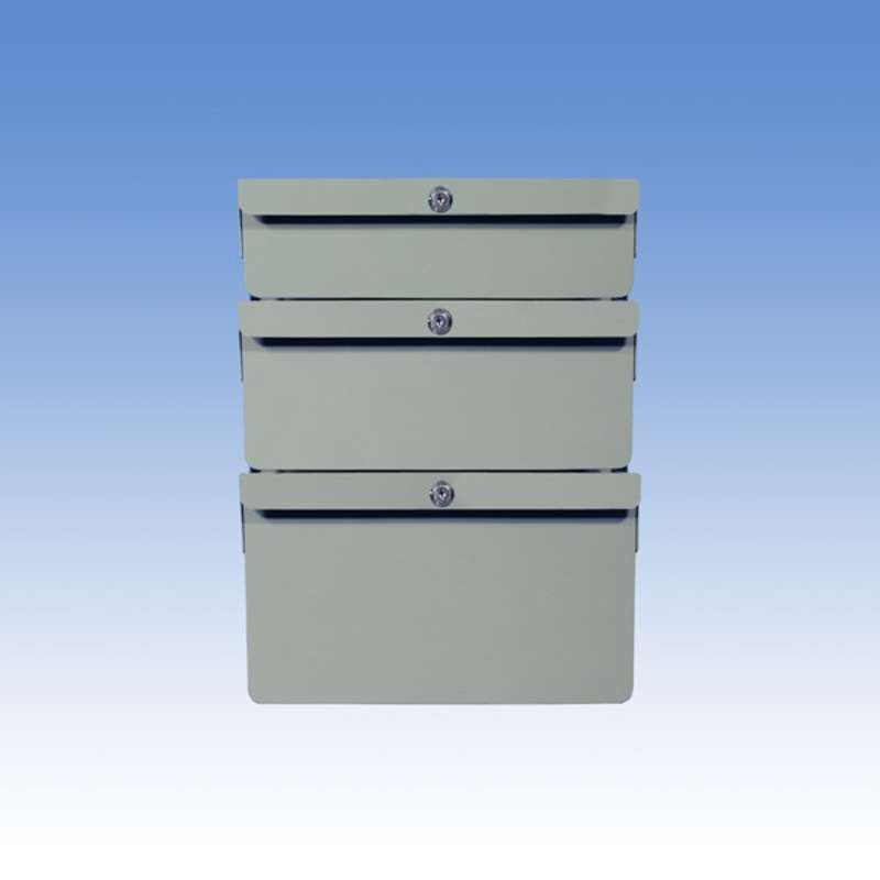 """Triple Stacked 2""""/4""""/6"""" Steel Drawers for Chemical Resistant Benches, Grey"""