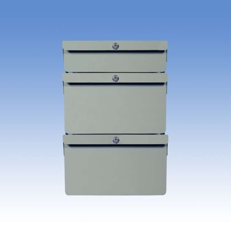 """Triple Stacked 2""""/6""""/6"""" Steel Drawers for Chemical Resistant Benches, Grey"""