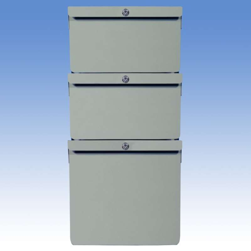 """Triple Stacked 6""""/6""""/12"""" Steel Drawers with File Rods for Chemical Resistant Benches, Grey"""